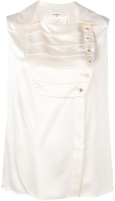 Chanel Pre Owned 1980's Pleated Panel Blouse