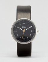 Braun Classic Leather Watch In Black & Black Dial