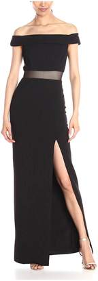 ABS by Allen Schwartz Allen B By Allen Schwartz Women's Off Shoulder Gown with Mesh Waist