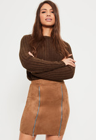 Missguided Brown Faux Suede Double Zip Front Mini Skirt