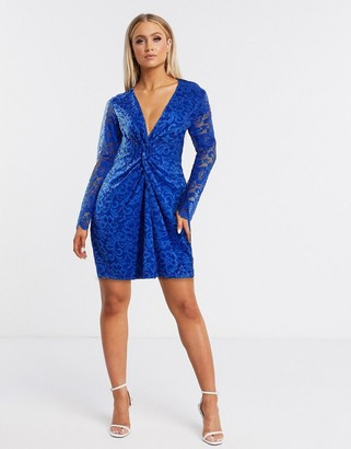 Flounce London lace mini dress with twist front in cobalt