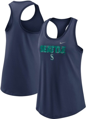 Nike Women's Navy Seattle Mariners Let's Go Racerback Performance Tank Top