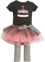 Bonnie Jean birthday cake tutu tunic & striped leggings set - baby