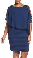 Adrianna Papell Plus Size Women's Capelet Sheath Dress