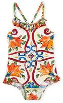 Dolce & Gabbana Maiolica-Print Ruffle One-Piece Swimsuit, Size 8-12
