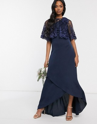 TFNC lace detail cape in navy