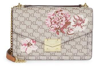 Karl Lagerfeld Paris Floral Logo Leather Crossbody Bag