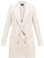 Ann Demeulemeester Lace-up Double-breasted Cotton-blend Blazer - Womens - Grey
