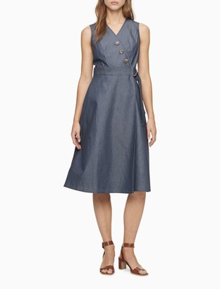 Calvin Klein Denim Stretch V-Neck Wrap A-Line Dress