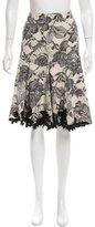 Karen Millen Floral Lace Print Silk Skirt