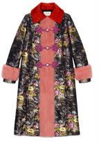 Gucci Silk jacquard coat with mink