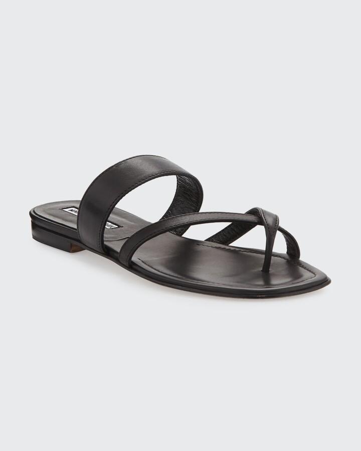 Thumbnail for your product : Manolo Blahnik Susa Crisscross Metallic Flat Sandals