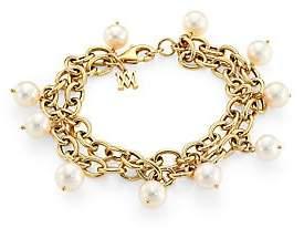 Charm & Chain Alberto Milani Women's Piazza Della Scala 18K Gold & 8-8.5MM Freshwater Pearl Charm Chain Bracelet