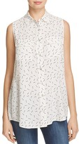4OUR DREAMERS Key Print Sleeveless Button Down Top