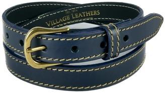 "Village Leathers Stitched 1"" Leather Belt - Navy"