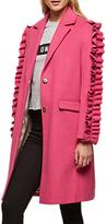 Miss Selfridge Ruffle Sleeve Coat, Pink