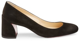 Christian Louboutin Miss Sab Block-Heel Suede Pumps