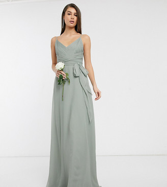 Asos DESIGN Tall Bridesmaid cami maxi dress with ruched bodice and tie waist