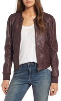 Hinge Women's Shrunken Leather Bomber Jacket