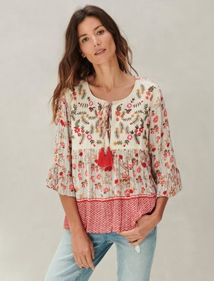 Lucky Brand Embroidered Border Print Peasant Top