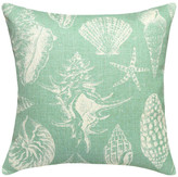 123 Creations Seashells Printed Linen Pillow With Feather-Down Insert, Aqua