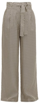 ASCENO Rivello Crescent-print Silk Wide-leg Trousers - Cream