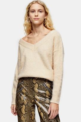 Topshop Womens Oat Knitted Brushed Bardot Jumper - Oatmeal