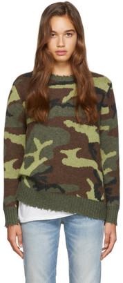 R 13 Green Camo Cashmere Sweater