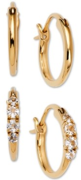 AVA NADRI 2-Pc. Set Small Polished & Crystal Hoop Earrings, 0.5""
