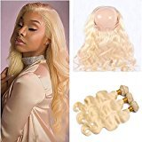 Ruma Hair 22.5x4x2'' Pre Plucked 360 Lace Frontal Closure With Bundles 4Pcs Lot #613 Blonde Russian Body Wave Wavy Virgin Human Hair Weaves With 360 Full Lace Band Frontal (22+24 26 28)