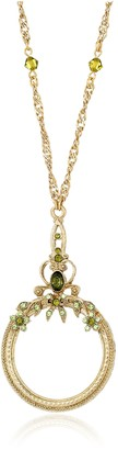 1928 Jewelry Ornate Olivine Brass-Tone Magnifying Glass Necklace 30""