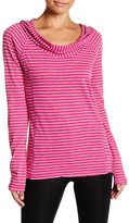 Andrew Marc Striped Cowl Neck Pullover Hoodie