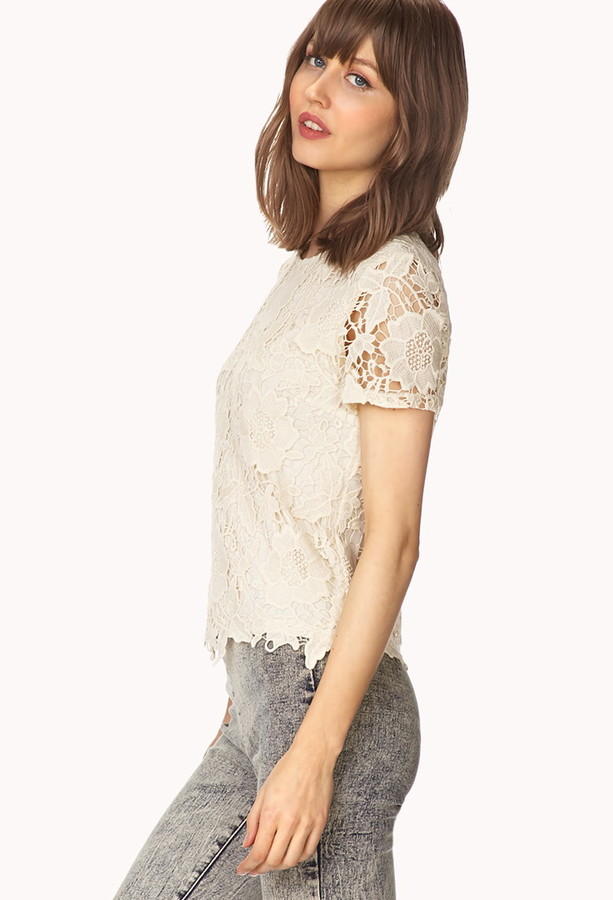 Forever 21 flora darling lace top
