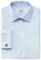 Charles Tyrwhitt Slim fit non-iron twill stripe white and sky blue shirt