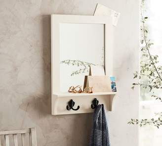 Pottery Barn Wade Entryway Mirror with Hooks - White
