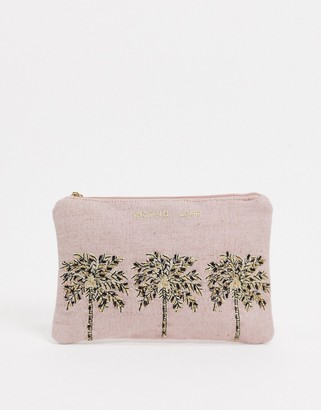 Accessorize beaded palm tree pouch in pink
