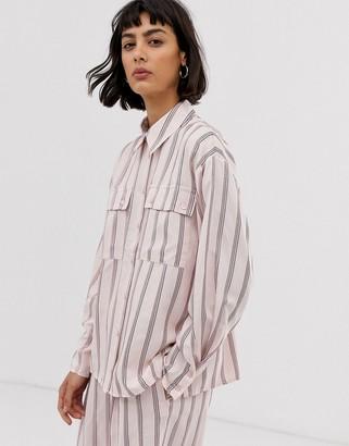 Asos pink vertical stripe shirt