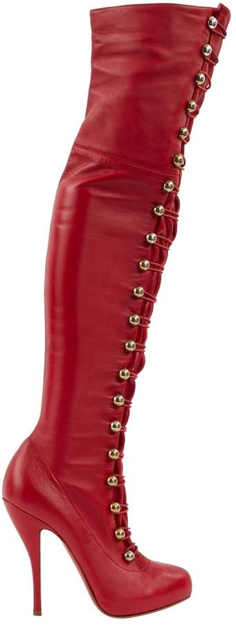 Christian Louboutin Red Leather Boots
