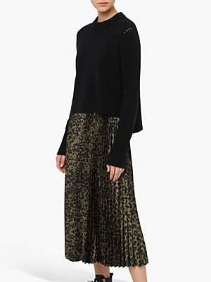 AllSaints Leowa Leopard Print Pleated Dress