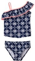 Carter's Toddler Girl Mosaic Print Asymmetrical One-Shoulder Tankini Top & Swimsuit Bottoms Set