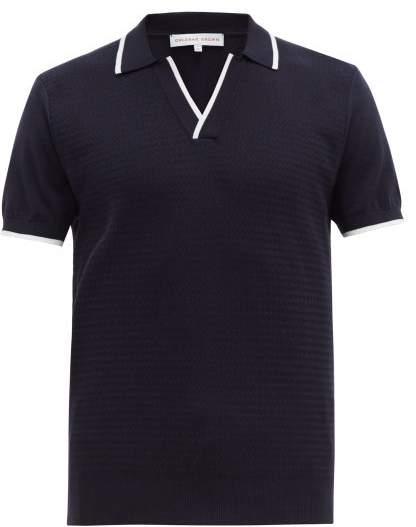 Orlebar Brown Horton Cotton Knit Polo Shirt - Mens - Navy