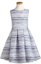 Girl's Pippa & Julie Stitch Stripe Sleeveless Dress