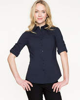 Le Château Stretch Poplin Roll-Up Sleeve Blouse