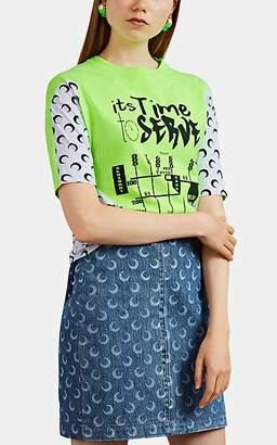 Marine Serre Women's Upcycled Cotton Jersey T-Shirt - Green