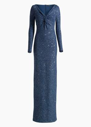 St. John Luxe Sequin Tuck Knit V-Neck Gown