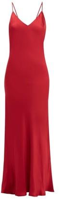 POUR LES FEMMES V-back Silk-satin Slip Nightdress - Dark Red