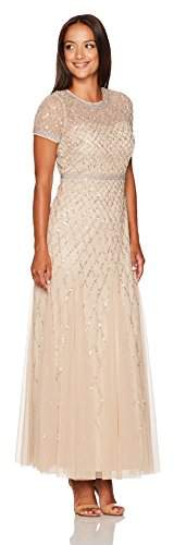 Adrianna Papell Women's Petite Short-Sleeve Beaded Mesh Gown