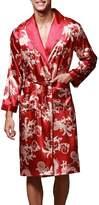FLYCHEN Men's Kimono Robe Floral Long Loungewear Spa Nightwear