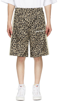 Palm Angels Brown Leopard Track Shorts