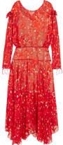 Preen by Thornton Bregazzi Andrea Printed Devoré Silk-chiffon Midi Dress - Tomato red